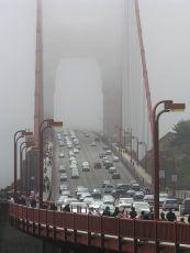 golden gate under fog