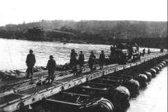 pontoon bridge US army 1945